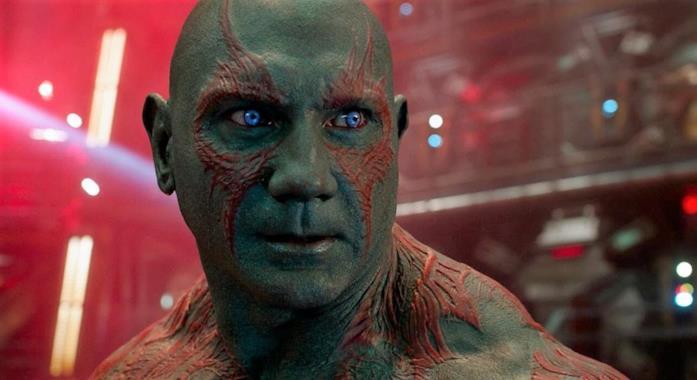 Un primo piano di Drax in Guardiani della Galassia