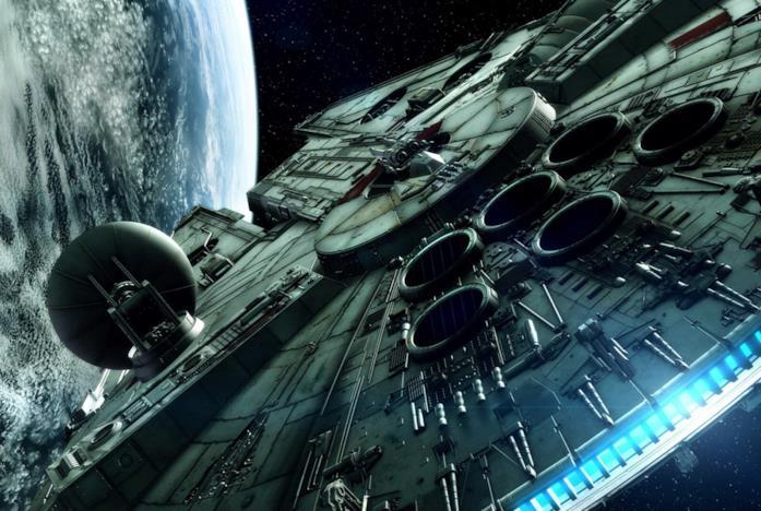 Il Millennium Falcon nello spazio, visto da dietro