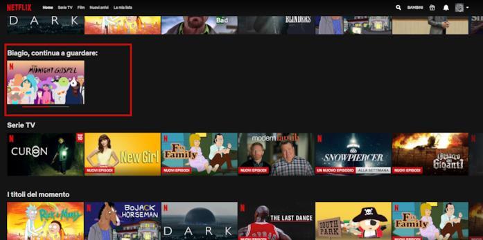 L'area Continua a guardare su Netflix