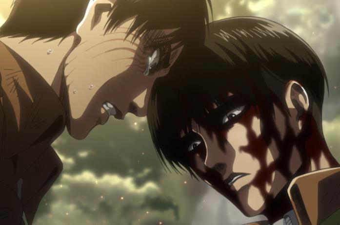 Eren e Levi si fronteggiano su chi debba essere salvato tra Armin e Erwin