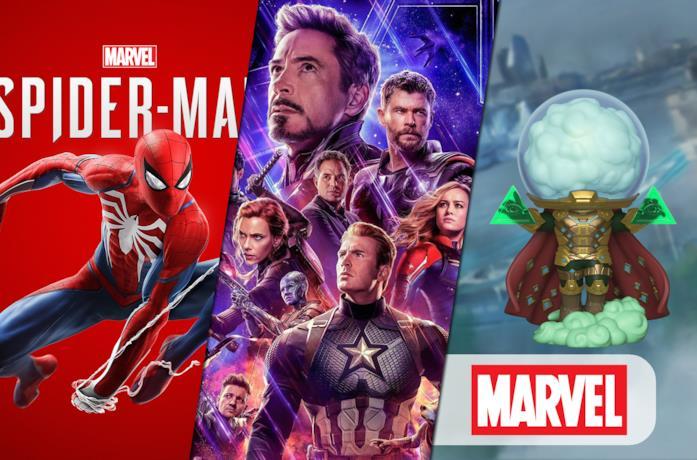 Da sinistra: Marvel's Spider-Man, Avengers: Endgame e Mysterio in versione Funko POP