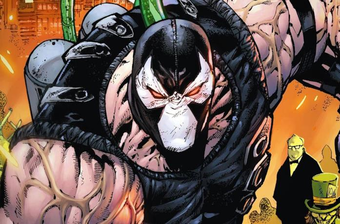 Un primo piano di Bane in una tavola tratta dai fumetti DC Comics