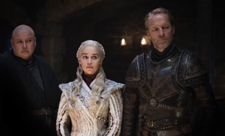 Varys, Daenerys Targaryen, Ser Jorah Mormont in GoT 8x02