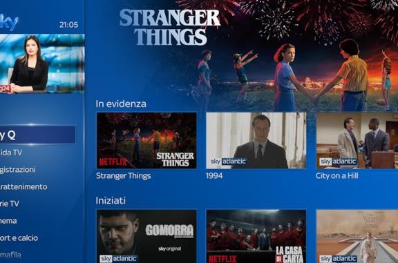 Schermata di Sky Q con i programmi di Sky e Netflix