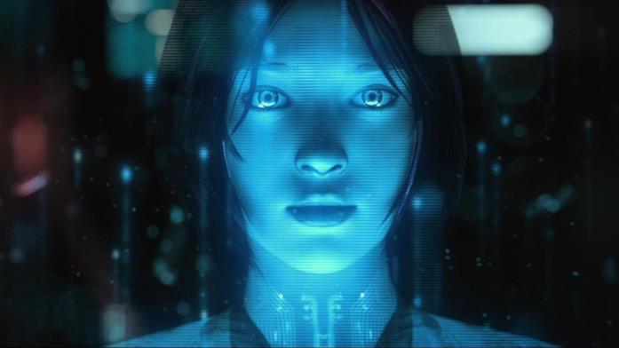 Un intenso primo piano di Cortana in Halo