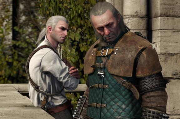 Geralt e Vesemir nel videogioco The Witcher 3: Wild Hunt