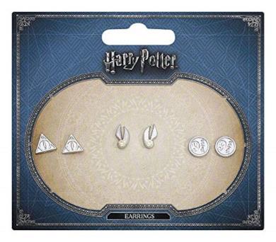 Harry Potter argento placcato doni della morte orecchino a forma di set - Piattaforma Snitch