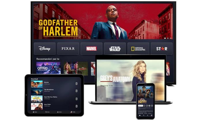 Disney+ in esecuzione su TV, tablet, smartphone e notebook