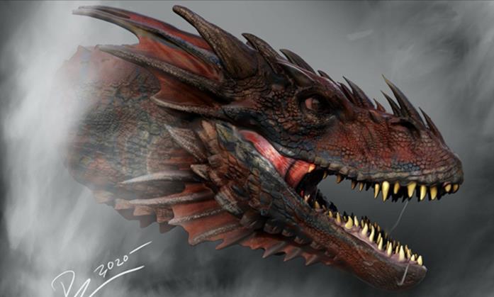 Testa di un drago di Un drago di House of the Dragon