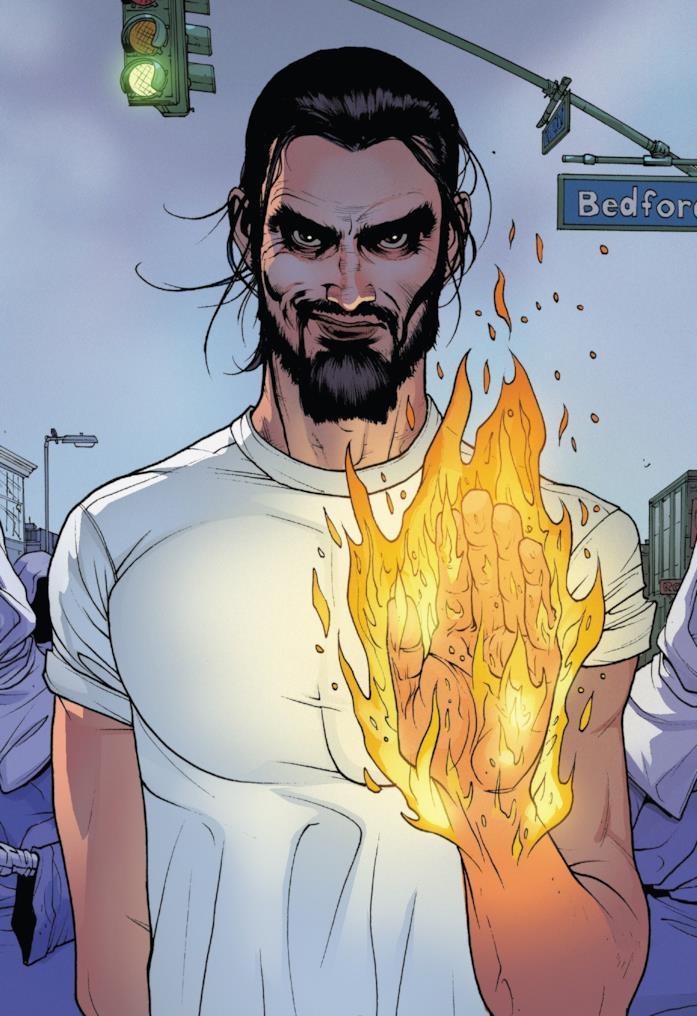 Un fumetto di Sun King che tiene in mano una fiamma