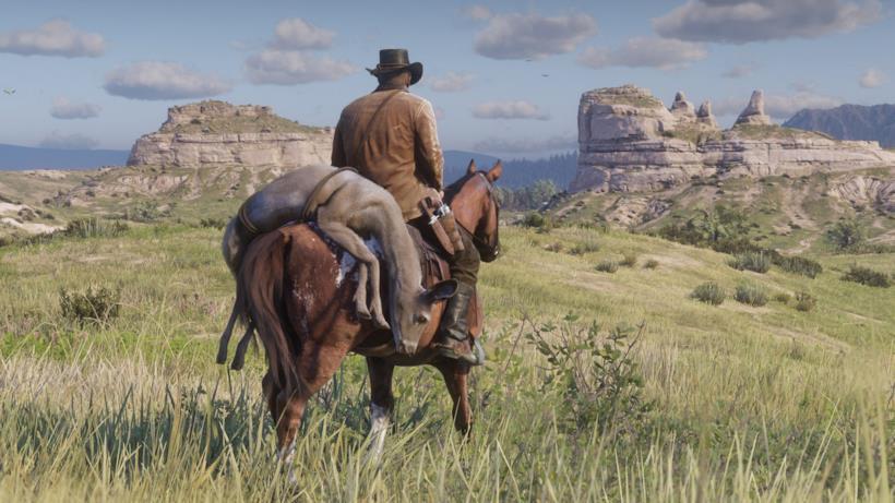 Arthur a cavallo dopo una battuta di caccia