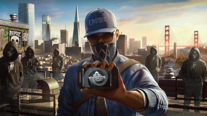 Il protagonista di Watch Dogs 2 mostra lo smartphone con il simbolo della DedSec
