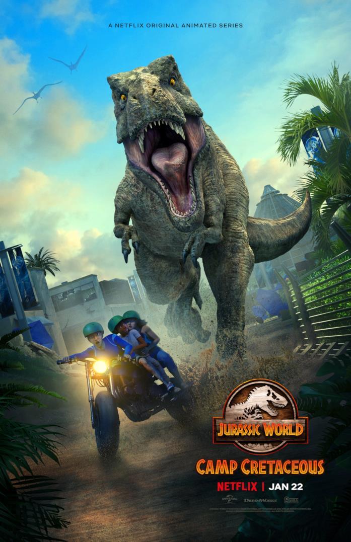 I protagonisti inseguiti dal T-Rex nel poster di Jurassic World: Nuove Avventure 2