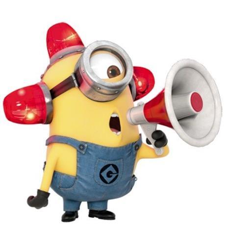 Il Minion Carl con un megafono