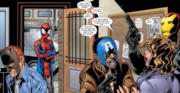 Tavola di un numero di Ultimate Spider-Man dove l'Uomo-Ragno affronta dei malviventi che indossano le maschere dei Vendicatori