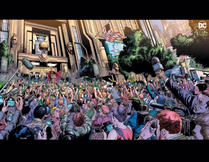 Immagine disegnata di Superman di fronte a una folla di giornalisti