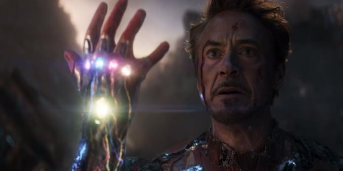 Tony Stark in una scena di Endgame
