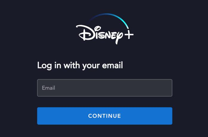 La schermata d'accesso a Disney+