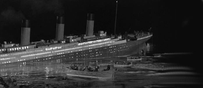 Una scena del film La Tragedia del Titanic