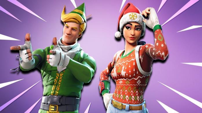 Alcuni costumi natalizi di Fortnite