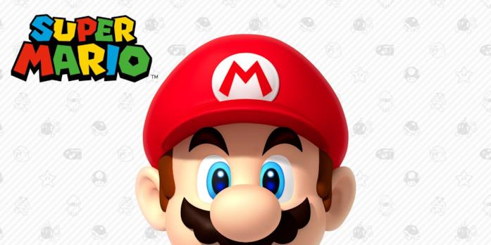 Una classica, rassicurante immagine di Super Mario con baffi e capelli
