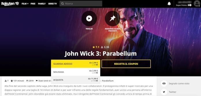 La scheda di John Wick 3 - Parabellum su Rakuten TV