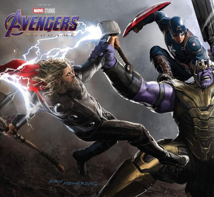 La cover del libro Avengers: Endgame - The Art of the Movie con Thor, Capitan America e Thanos in battaglia