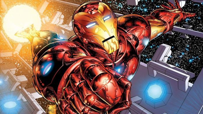 Iron Man vola nello spazio, all'interno di una misteriosa stazione