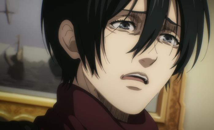 Mikasa è sconvolta dalle parole di Eren