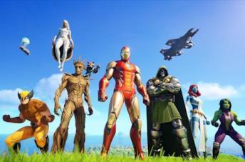 Iron Man, Thor, Wolverine e gli altri personaggi Marvel atterrati sull'isola di Fortnite