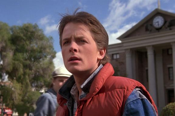 Un'immagine di Michael J. Fox come Marty McFly