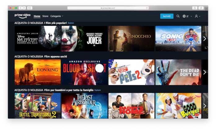 La pagina principale di Amazon Prime Video Store