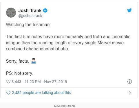 Il post di Josh Trank su Twitter poi cancellato