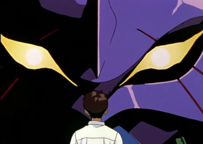 Shinji faccia a faccia con l'Eva-01