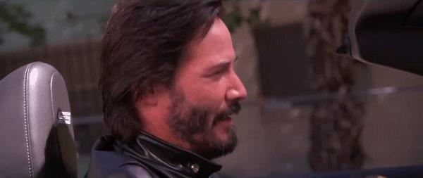 Una GIF con Keanu Reeves che approva