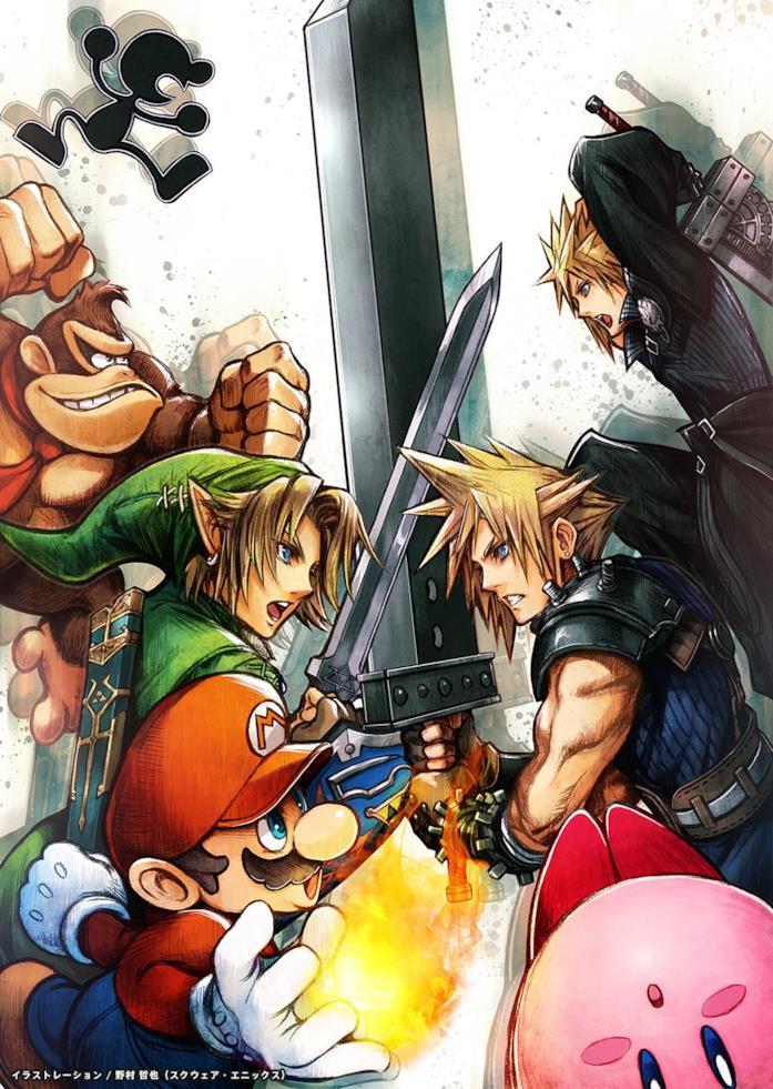 L'illustrazione di Tetsuya Nomura che omaggia l'arrivo di Cloud in Smash Bros
