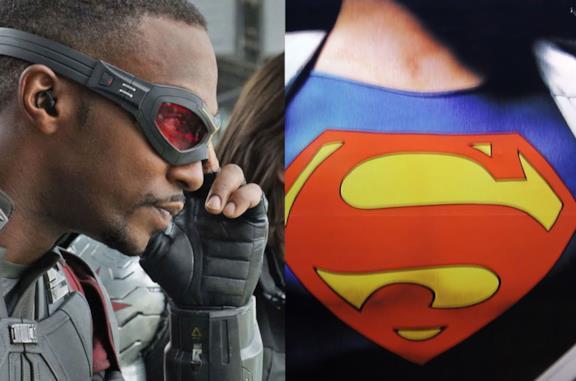 Falcon e il logo di Superman