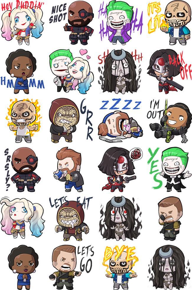 I personaggi di Suicide Squad in versione sticker