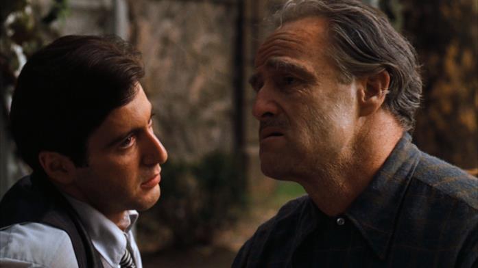 Marlon Brando e al Pacino in una scena del film