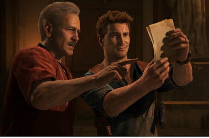 Nathan Drahe e Victor Sullivan nel videogioco Uncharted