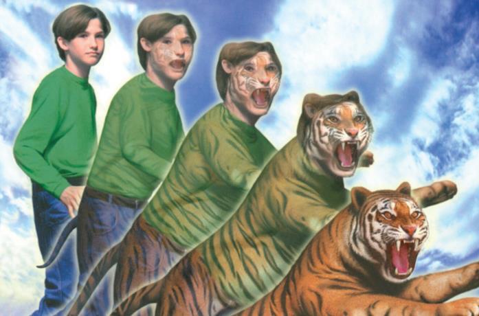 Una trasformazione da ragazzo a tigre sulla copertina di un libro della saga Animorphs