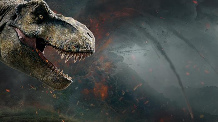 Il muso del Tirannosauro in un poster promozionale del film