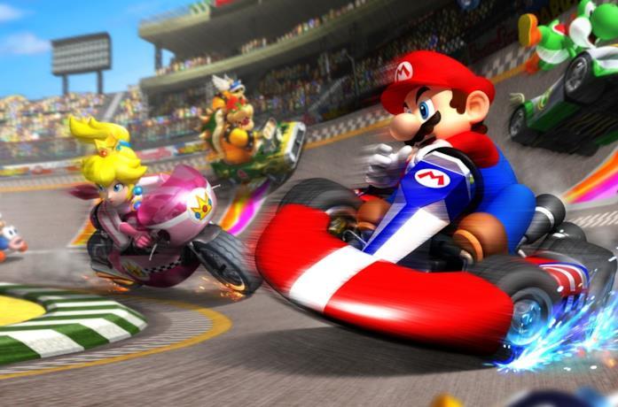 Super Mario e altri personaggi sui loro kart