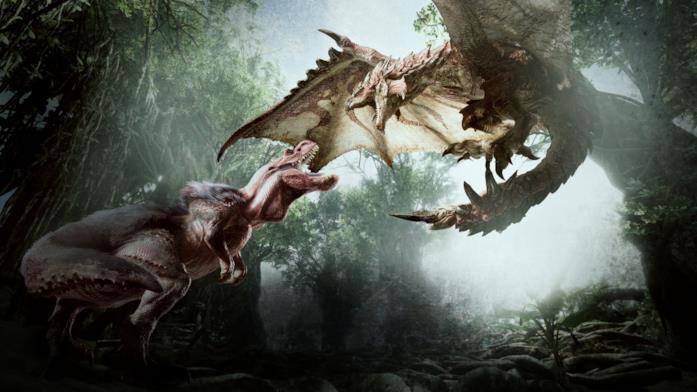 Una scena di combattimento in Monster Hunter World