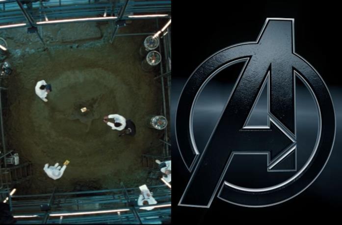 La a maiuscola tracciata sulla sabbia in Thor e il logo degli Avengers