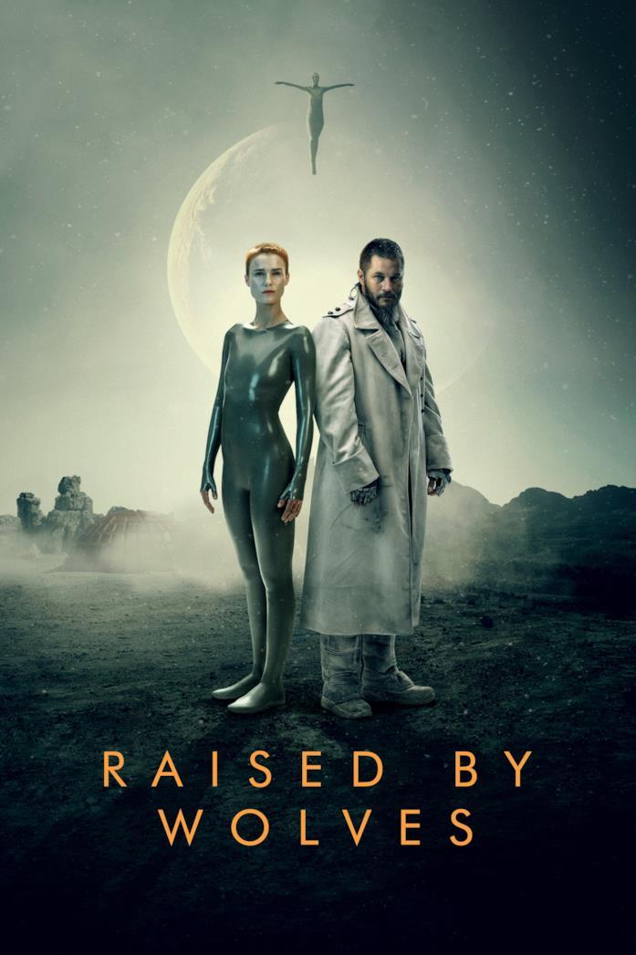 Amanda Collin e Travis Fimmel nella locandina di Raised by Wolves