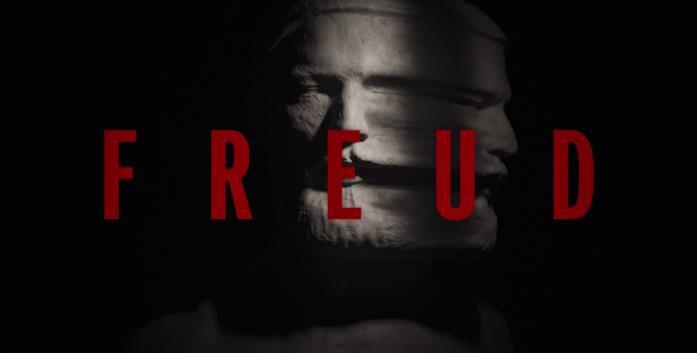 La scultura della testa di Freud è sdoppiata e presenta due volti in uno