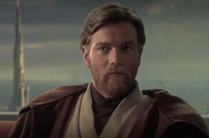 Primo piano di Ewan McGregor nei panni di Obi-Wan Kenobi ne La Vendetta dei Sith