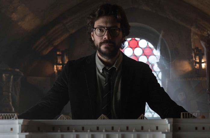 Il Professore in primo piano ne La Casa di Carta