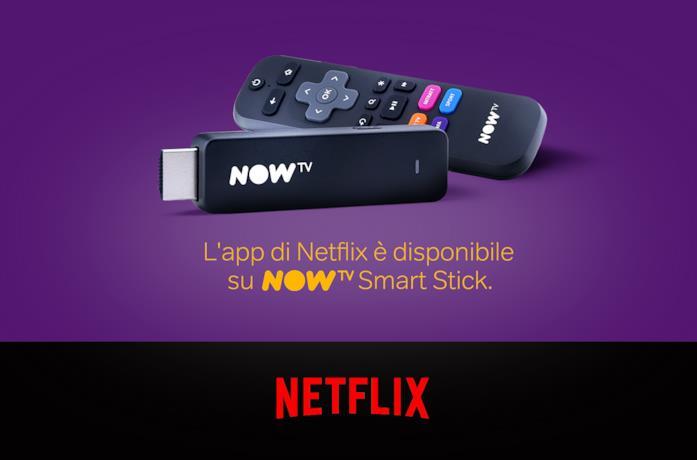 Immagine promozionale della NOW TV Smart Stick; in basso il logo di Netflix